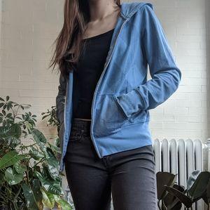 Blue Checkered Plaid Hoodie Sweatshirt Zip up L